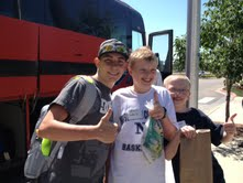 Liam leaving for heart camp with friends Nathan and Ethan.
