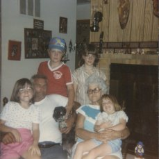 My grandparents, their dog Pebbles, and my brother & sisters & me in 1985, my grandparents were both 61