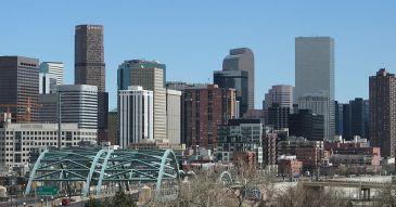 Denver Skyline from I-25 and Speer Blvd. Taken by Matt Wright on March 26, 2006.